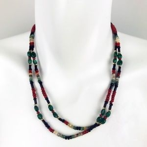 Green Black and Copper Beaded Necklace